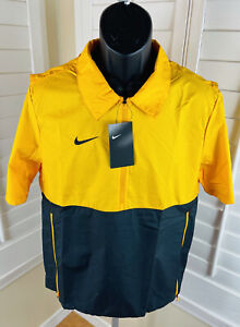 New Nike 1/2 Zip Coaches Lightweight Jacket, CI4479-717, Black/Yellow, Men's S