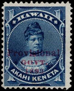 Hawaii - 1893 - 1 Cent Blue Princess Likelike Issue w Red Overprint # 54 Mint