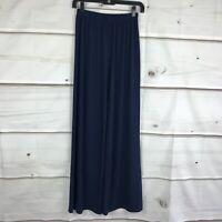 Bob Mackie Womens XXS Wide Leg Regular Length Knit Pants Pull On Stretch Blue