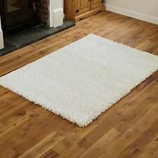 Modern Quality Small Large Thick 5cm High Cream Shaggy Rugs Runner Circle