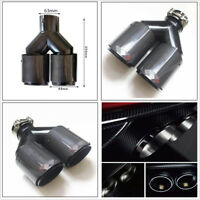 Real Carbon Fiber+Stainless Steel Car Dual Exhaust Muffler Pipe Tip Gloss Black