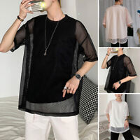Men Short Sleeve Crew Neck Mesh T Shirt Casual Loose Fishnet Top Blouse Clubwear