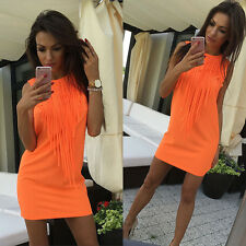 Women Plus Size Sleeveless Tunic Top Dress Evening Beach Party Mini Sundress USA