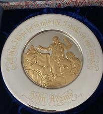 1974 Franklin Mint Sterling Silver 24K Gold Inlay Bicentennial Plate John Adams