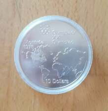 Silver Canada 1973 10 Dollars Olympic Games Montreal 1976 World Map Queen Coin