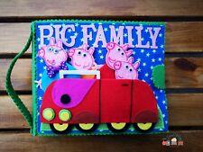 Pig Family Handmade Felt Quiet Book Activity  Sensory Toy Montessori SEN Birthda