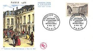 Enveloppe FDC France CENTENAIRE CONFERENCE POSTALE INTERNATIONALE 1963 PARIS