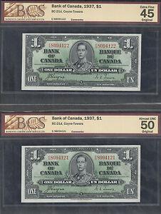 1937 $1.00 BC-21d BCS AU-50 & EF-45 BEAUTY Consecutive Canada George VI Dollars