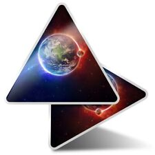 2 x Triangle Stickers  10cm - Earth Moon Space Nebula Galaxy  #44927