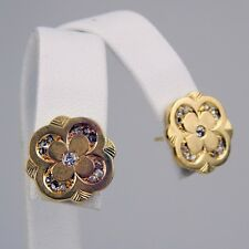 Victorian Pair of Diamond Four Leaf Clover Motif Stud Earrings 18 kt Gold #A1896