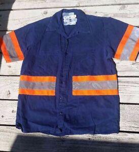 Large Red Kap Short Sleeve Reflective Shirt, Blue w/ Reflective Orange & Silver