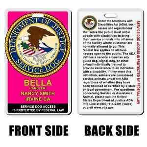 Service Dog ADA info hot pink Badge ID card custom made with your dog info