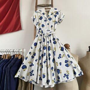 "Vintage 1940s/50s Australian Kay Dunhill Novelty Print Cotton Dress UK12 W30"""