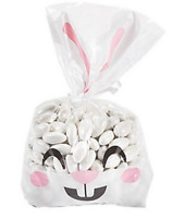 Pack of 12 - Clear Easter Bunny Face Cellophane Bags - Party Egg Hunt