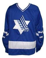 Any Name Number Size Team Israel Retro Custom Hockey Jersey Blue