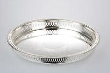 Serviertablett Silber rund 34 cm rund Servierplatte DekoSchale Deko Tablett