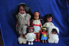 Lot of 6 Vintage Native American/Canadian Indian and Eskimo Dolls