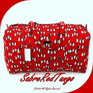 NWT VERA BRADLEY QUILTED LARGE DUFFEL GYM TRAVELLING BAG PLAYFUL PENGUINS RED