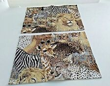 Wild Jungle Animals Print (2) Fabric Placemat  Table Scarf Wall Hanging 16x12""