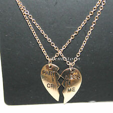 Partners in Crime Broken Heart Best Friends BFF Besties 2PK Necklace Lovesick