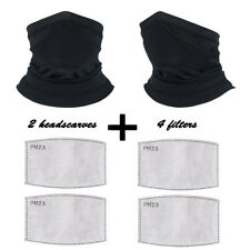 2 Pc Scarf Bandanas Sport Neck Gaiter with 4 Pcs Safety Carbon Filter Face Cover
