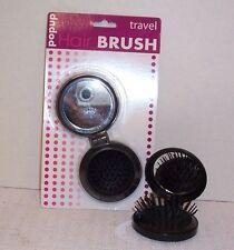 Travel Hair Brush & Mirror Pop Up Pocket Compact Beach Office Riding  Free Ship