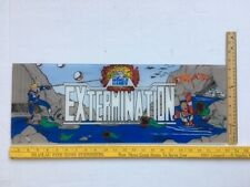 ARCADE GAME UPPER MARQUEE ORIGINAL EXTERMINATION by World Games 1987