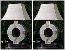 TWO RICH CARVED SLATE TABLE READING LAMPS HAMMERED COPPER ACCENTS SUEDE SHADES
