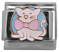 Italian charm White cat with pink bow 9mm classic link    (C58)