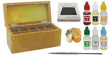 Gold testing acids wood storage box test 10k 14k 18k 22k silver stones kit loupe