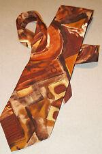 "Gorgeous SECOURS reddish brown gold Pattern Neck Tie 57"" 100% Silk NEW"