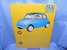 Metal Advertising Car Garage Sign Fiat 500 Calendar