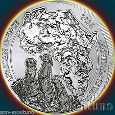 2016 Rwanda MEERKAT 1oz .999 Silver Mint Sealed BU African Wildlife Bullion Coin