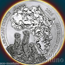 2016 Rwanda Meerkat 1oz .999 Silver Mint Sealed Bu African Wildlife Bullion Coin