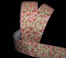 """5 Yards Shabby Chic Roses Garden Rose Pink Wired Ribbon 1 1/2""""W"""