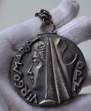 Art Deco signed Fernand PY Our Lady Virgin Mary silver bronze pendant necklace