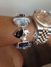 Silver, opal, onyx and pearl bracelet & earrings set