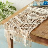 "Mud Pie Home Macrame Open Weave Retro Themed Table Runner 17"" x 70"""