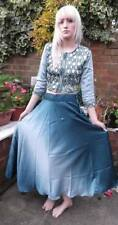 Fairtrade Hand Made Mirror Work Blue Ombre Satin Sari Indian Long Skirt Top 8-10
