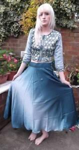 Fairtrade Hand Made Mirror Work Blue Ombre Satin Sari Indian Long Skirt Top 8-10