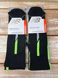 Set Of New Balance Reflective Compression Black & Neon Running Socks Unisex Sz L