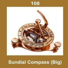 New Vintage Sundial Compass Big Brass Made Nautical Collectibles GEc