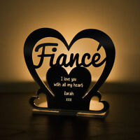 Personalised Tea Light Heart Candle Holder FIANCÉ Anniversary Engagement Gift