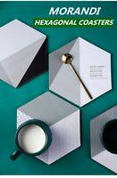 MORANDI Hexagonal Cork Wood Drink Coaster Geometric Tea Coffee Cup Mat Tableware