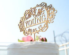 Personalized Wedding Cake Topper Rustic Laser Cut Wood Custom Cake Topper #143