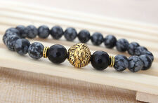 Men's Natural Fashion Spot Stone Beaded Stretch Gold Plated Lion Head Bracelet