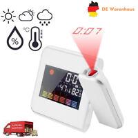 Aufmerksamkeit Projektion Digital Wetter LCD Snooze Wecker Projektor LED Weiß DE