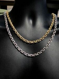 """Men's Rolo Link Chain ICY Diamonds Solid 925 Silver / 14K Gold 18"""" Choker To 30"""""""