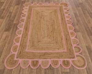 pink border jute rug scalloped handmade rug scalloped jute rug braided jute rug