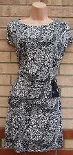 TG BLACK WHITE ABSTRACT BELTED SIDE BAGGY TUBE BODYCON WORK LYCRA COTTON DRESS L